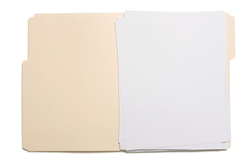Opened file folder with blank paper Wall mural