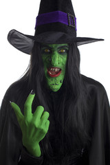 Evil witch beckoning you over, white background.
