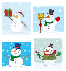 Joyous Snowman.Vector Collection