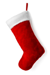 Santa's red stocking isolated on white background for Christmas