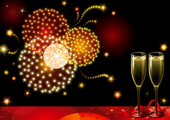 Holiday background with two Champagne Flutes, fireworks.