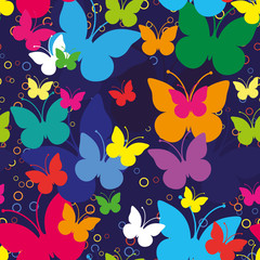 Blue seamless background with butterflies, vector illustration