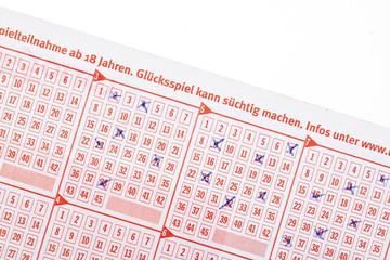 Lotto Tippschein  ausgefüllt