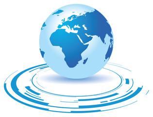a globe on a broken blue background