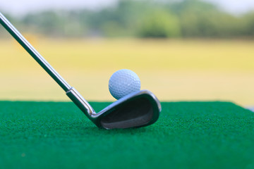golf club and ball,low camera height