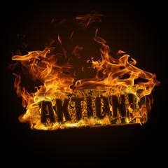 Aktion mit Flammenschrift