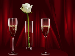 champagne and white rose landscape