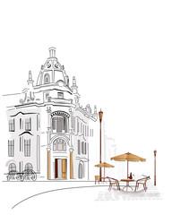 Foto auf AluDibond Gezeichnet Straßenkaffee Sery of street cafes