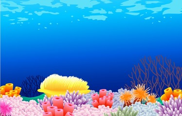 Aluminium Prints Submarine beautiful corals background