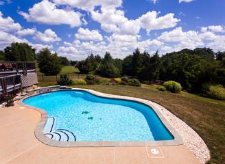 Backyard swimming pool and patio