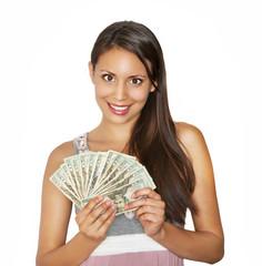 Happy smiling beautiful woman winning or earning  cash money