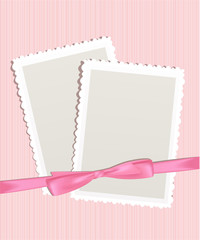 Card for greeting or congratulation on the pink floral backgroun