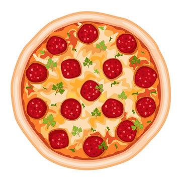 Pizza Salami - over white - vector