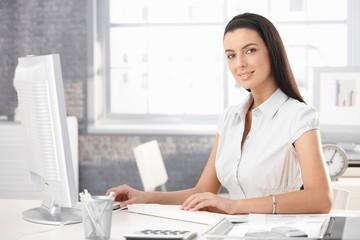 Portrait of smiling office girl