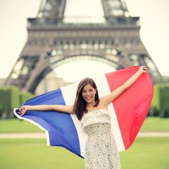 Paris woman French flag