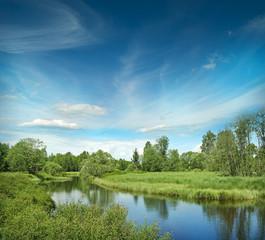 Foto auf Leinwand Fluss River Vltava in the national park Sumava Crech republic - Europe