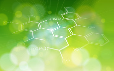 green ecology background: chemical formulas
