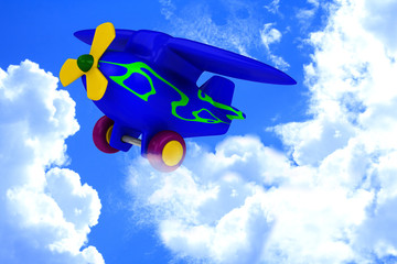 Printed roller blinds Airplanes, balloon Plane with yellow propeller fly in sky