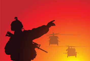 Aluminium Prints Military Vector silhouette of a soldier with helicopters