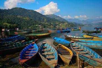 Wall Murals Nepal boat in fewa lake