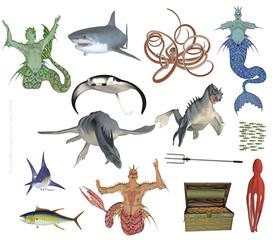 mermen and sea monster