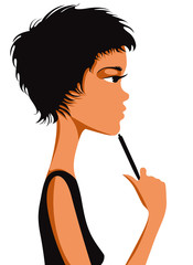 Pretty girl thinking with short black hair and pen in hand.