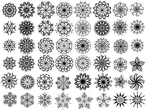 Vector Set Of Christmas Snowflakes