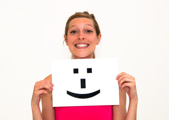 woman with board Smile face sign