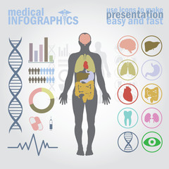 Medical infographics. Presentation set.