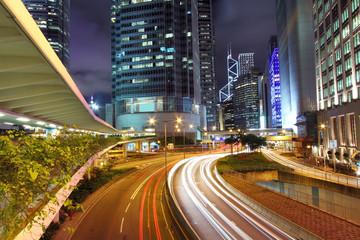 Traffic through downtown of Hong Kong at night