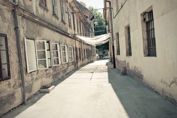 Grunge street in Ljubljana, Slovenia