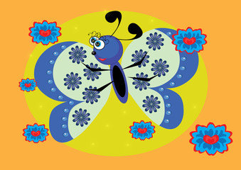 cartoon butterfly on isolated background