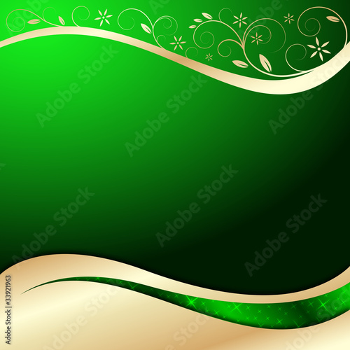 Quot Vector Background In Green Gold With Floral Elements