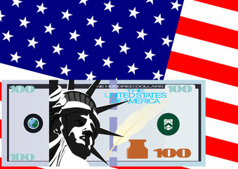 The dollar and the U.S. flag