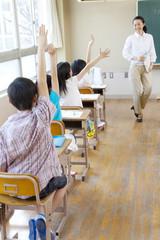 授業中挙手をする小学生4人の後ろ姿