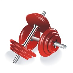 Dumbell weights isolated on a white