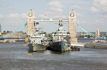 HMS Portland and HMS Belfast at Tower Bridge