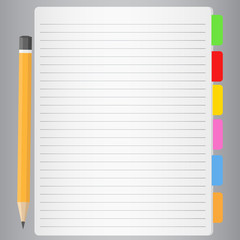 Vector Lined Paper and Pencil