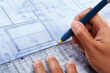Architect working on house deisgn
