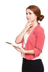 nachdenkliche junge Frau mit Tablet Computer