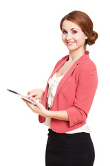 junge lächelnde Frau mit Tablet-Computer