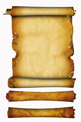 Ancient parchment and rolls.