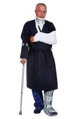 Injured man isolated on white