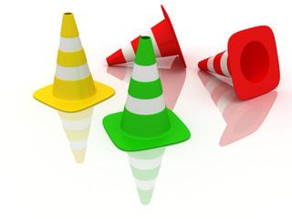 rgb colored traffic cones
