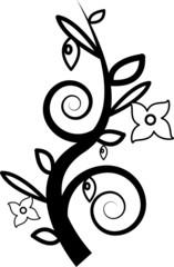 Zweig mit Blätter und Blüten