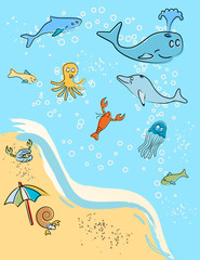 At the Beach...Marine Animals Vector / Clip Art