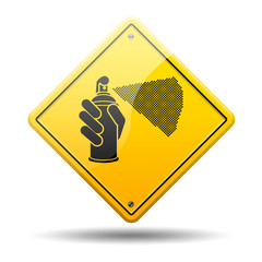 Señal amarilla simbolo graffiti