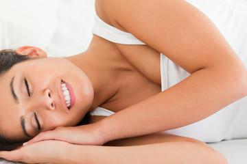 relaxing smiling woman