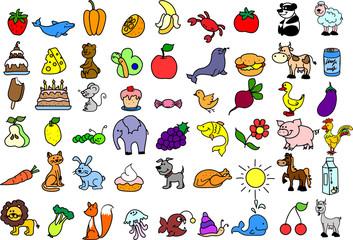 набор иконок животных, продуктов питания, природа