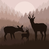 Doe family in wild nature landscape illustration